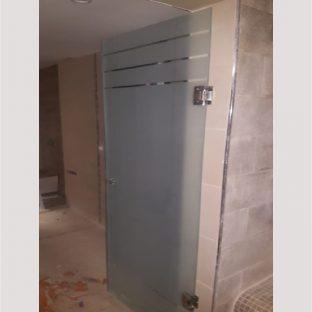 Porte salle de bain en verre sablé